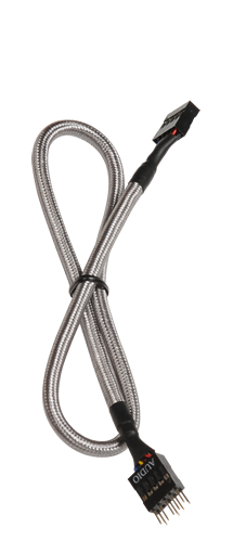 Bitfenix 30cm 9-Pin Audio Extension Cable Silver- Sleeving