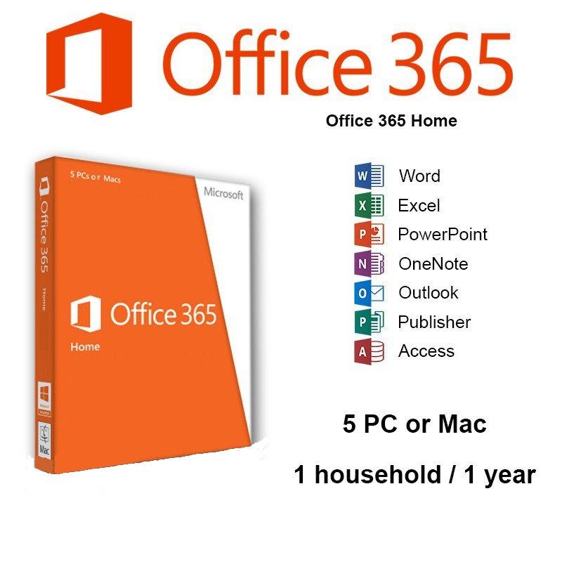 Microsoft Office 365 Home - 5 PC\'s or Macs - 1 Year Subscription ...