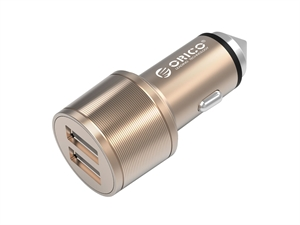ORICO 15.5W Safety Hammer Design 2 Port Car Charger - Gold