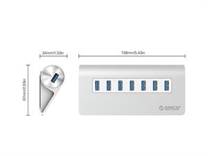 ORICO Aluminum 7 Port USB3.0 HUB with 30W Power Adapter