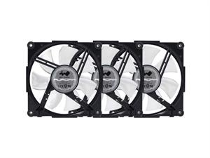 In Win Aurora RGB Black/White 120mm Fan, 3-pack, 2x LED Strips