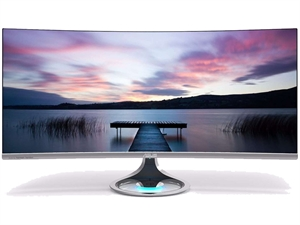 """ASUS Designo Curve MX34VQ 34"""" Curved UWQHD Monitor with Qi Wireless Charging"""