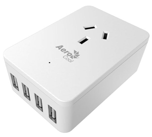 Aerocool ASA ST1A4U2 1 AC outlets and 4 USB high speed Fast charging ports