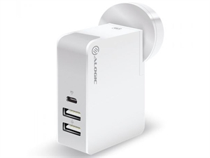 ALOGIC 3 Port USB-C Wall/Laptop Charger 45W with Power Delivery & USB-A Charging Ports - White